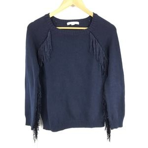 ☀️ Piperlime Collection Fringe Sweater Navy Blue